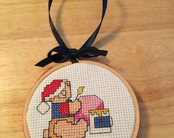Handmade finished counted cross stitch Christmas ornament