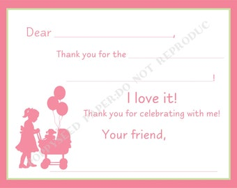 Baby doll Fill In Thank You Notes- Kids- Children- Doll Stationery- Birthday Party, baby doll thank you notes