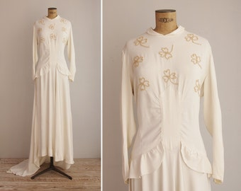 30s Wedding Dress - 1930s Bridal - Long Sleeved Dress - Lucky Girl Wedding Gown