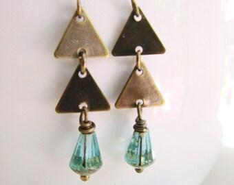 Brass Triangle Earrings, Aquamarine, Geometric Necklace, Bohemian, Earring Necklace Set, Brass Earrings, Modern Jewelry, Triangle Jewelry