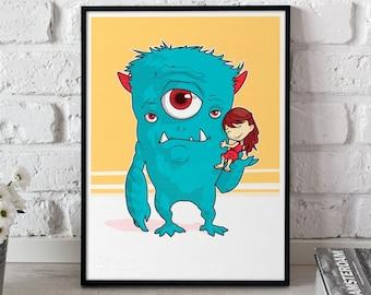 "Art Print - ""A Girl and Her Monster"" v1 Poster, kids room wall art giclée print illustration"