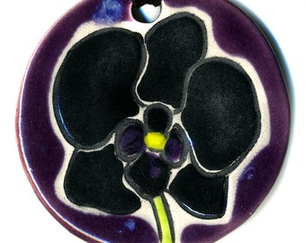 Black Orchid Ceramic Necklace in Purple