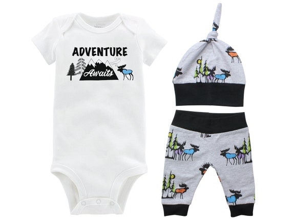 Adventure Awaits Boy Going Home Set Black Gray Onesie Bodysuit Infant Gift Set Moose Boy Coming Home Outfit Mountains Baby Shower Gift