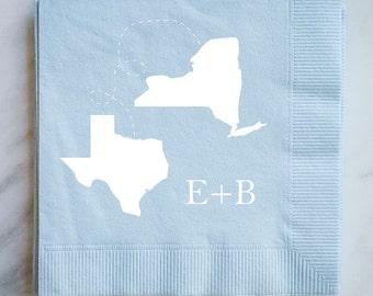 Two States Wedding Napkins, Custom Printed Napkins, Bar Napkins, Foil Printed State Napkins, Personalized Wedding Napkins