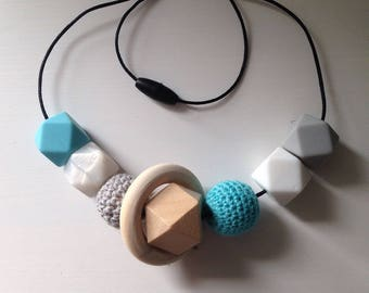 Wooden Crochet Silicone Feeding, Babywearing and Teething Necklace- Louise, Teal