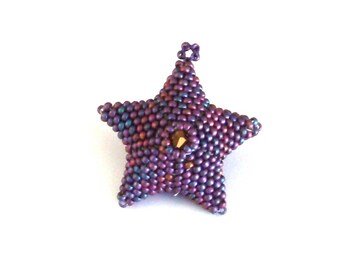 Handmade Bead Woven 3D Star Ornament in Purple, Christmas Decoration, Christmas Ornament, Star Ornament