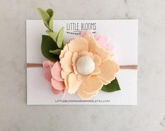 Felt Bloom Headband - APRICOT