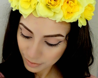 Yellow flower crown etsy floral crown mightylinksfo