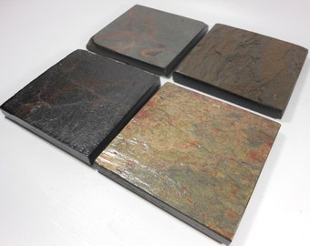 POLISHED SLATE COASTERS, 4 Assorted Colors, Varnished to Enhance Colors, Natural Stone Coasters Set, Quality Handmade Tile Drink Coasters