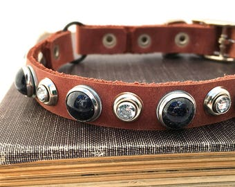 Matte Red Leather Cat Collar with Black Pearls and Sparkles, Cat Collar Leather, Leather Collar, Made in USA, Seattle Handmade