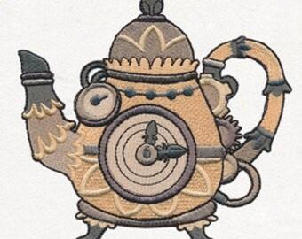 Steampunk Teapot Embroidered Flour Sack Hand/Dish Towel
