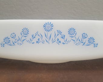 Federal Glass Blue Flower | Loaf Pan | Casserole Dish | Baking Dish | Cooking | Vintage Kitchen | Farmhouse | Garden | Blue | Milk Glass