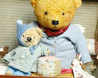 """Antique  Teddy Bear 23"""" - Bruno  c1940/50  Comes with clothes shown and hat"""