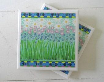 Wildflowers Ceramic Drink Coasters-Set of 4