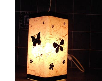 Lamp handmade glass Butterfly with black ribbons