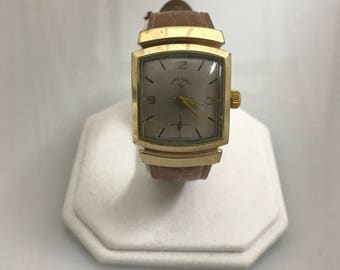 a597 Original Vintage Lord Elgin Shockmaster 14K Gold Filled Men's Wrist Watch