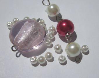 18 round glass beads pink, white and fuchsia 4-20 mm (3 PV9)