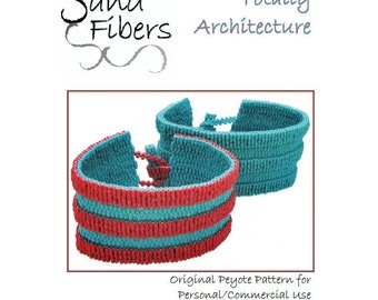 Peyote Pattern - Totally Architecture  Peyote Cuff / Peyote Bracelet - A Sand Fibers For Personal/CommercialUse PDF Pattern