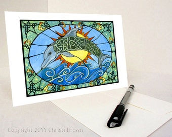 Dolphin Celtic Knot watercolor painting greeting card or art print goldfish