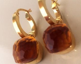 Silver earrings in yellow gold quartz stones