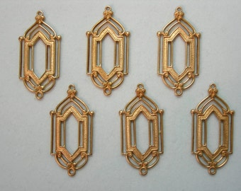 Art Deco Raw Brass Earring Drops Dangles Findings - 6