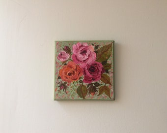 Stunning Contemporary Wild Roses palette knife oil painting on canvas