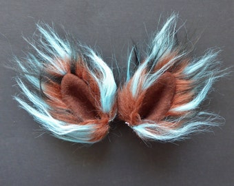 Small Brown Blue and Black Faux Fur Ears Cat Dog Monster Costume Halloween Cosplay