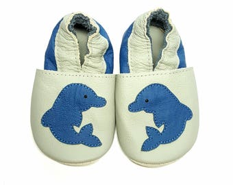 Dolphin soft sole leather shoes, leather baby shoes, baby pre-walkers, soft baby shoes, baby slippers, toddlers moccasins, baby gift