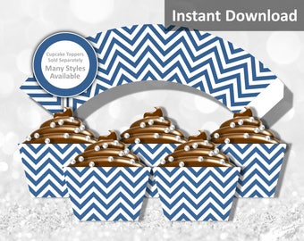Navy Blue Chevron Cupcake Wrapper Instant Download, Party Decorations
