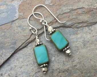 Turquoise Czech Glass Earrings, Aqua and Silver Earrings, 1.5 inches long.
