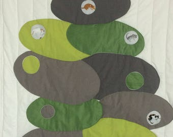 "patchwork wall hanging ""pebbles and cats"" fabric wall hanging."