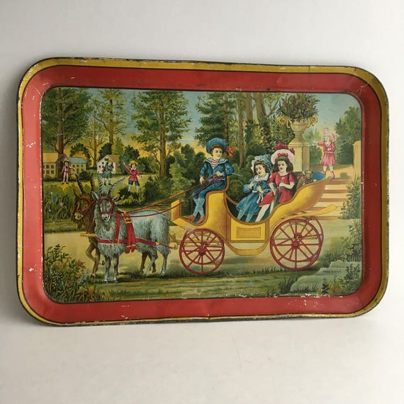 """Early 1900s Tin Color Litho Tray Children in Goat Cart 13""""x9"""""""
