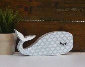 Sleepy whale | nursery whale | wooden whale | Kids room decor | whale shape | nursery decor