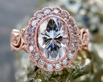 Forever One Moissanite Engagement Ring in 14K Rose Gold with Diamonds in Flower Buds and Leafs on Vine Size 4