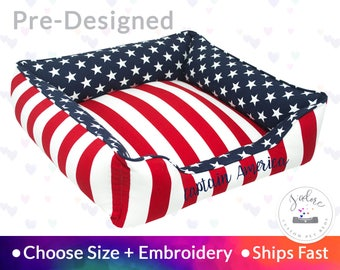 Super Hero Dog Bed - America, Red, White, Blue, Patriotic | Washable, Reversible and High Quality - Ships Fast!