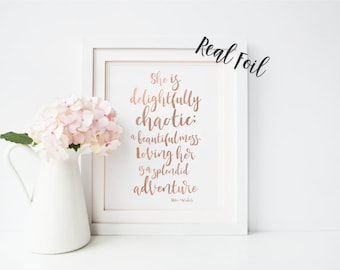 Nursery print - Nursery Art - Baby Room Decor- Girls Room - She is Delightfully Chaotic - Wall Art - Baby Nursery - Quote Print - Baby Girl
