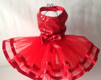 Red sequinned tutu style dog dress for small breed dogs.