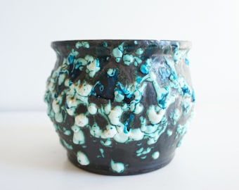 Ceramic planter blue fat lava vintage