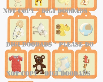 Digital Download Baby Gift Tags Collage Printable Scrapbook