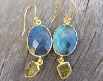 Labradorite earrings, for her