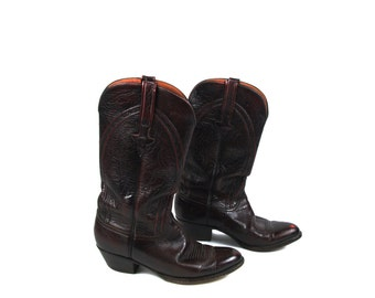 Classic Cordovan Handmade Men's Lucchese Boots - Beautiful Leather - True Vintage