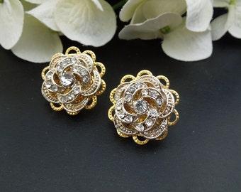 Bridal Earrings Swarovski crystal earrings rhinestone stud crystal earrings Wedding Gold Earrings Stud Earrings Statement Earrings ROSELANI