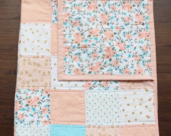 The Aurora Quilt, baby quilt, baby girl, crib quilt, roses, floral, gold, pink, peach, blue, aqua, baby bedding, nursery, decor,baby blanket