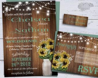Printable Sunflower Wedding Invitations, Rustic Wedding Invitations, Summer Country Wedding Invites, Baby's Breath, Mason Jar, String Lights