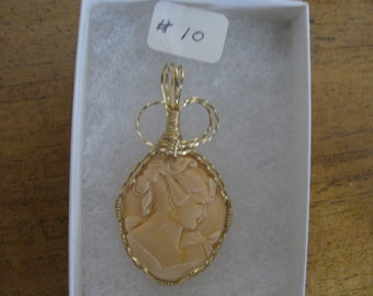 Handcrafted Wire Wrapped Resin Cameo