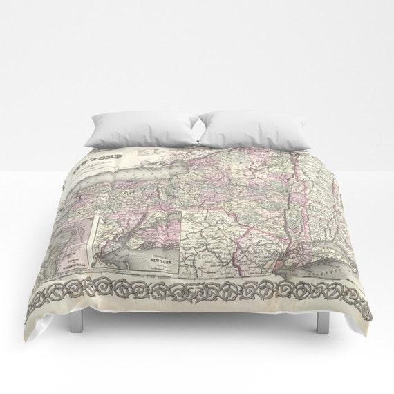 Antique New York Map Comforter, Vintage New York Map Bedding, Old Map Bedspread, Decorative, Unique, Dorm, New York Map Decor, Antique Map