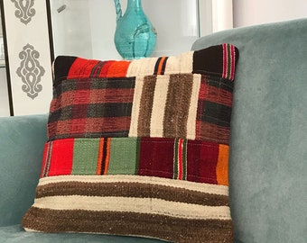 Home Decor for Pillow, Vintage Decor, Decorative Pillows, Turkish Kilim Pillow, Pillow Cover,  Designer Pillow, Motif Pillow, 18x18 inch,