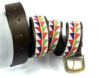 Leather belt, Beaded belt, Handmade belt, Maasai beaded leather belt, African beaded belt, Men belt, Casual belt, Boho belt, Gift for him