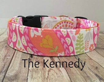 """Pink Floral Leaves Dog Collar """"The Kennedy"""""""