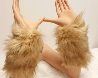 Faux Fur Arm Warmers: Light Brown Fur, Foxy Hot Pink, Variety Soft Faux Fur Arm Warmers
